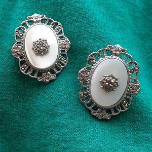 Romantic VTG Mother of Pearl & Marcasite earrings